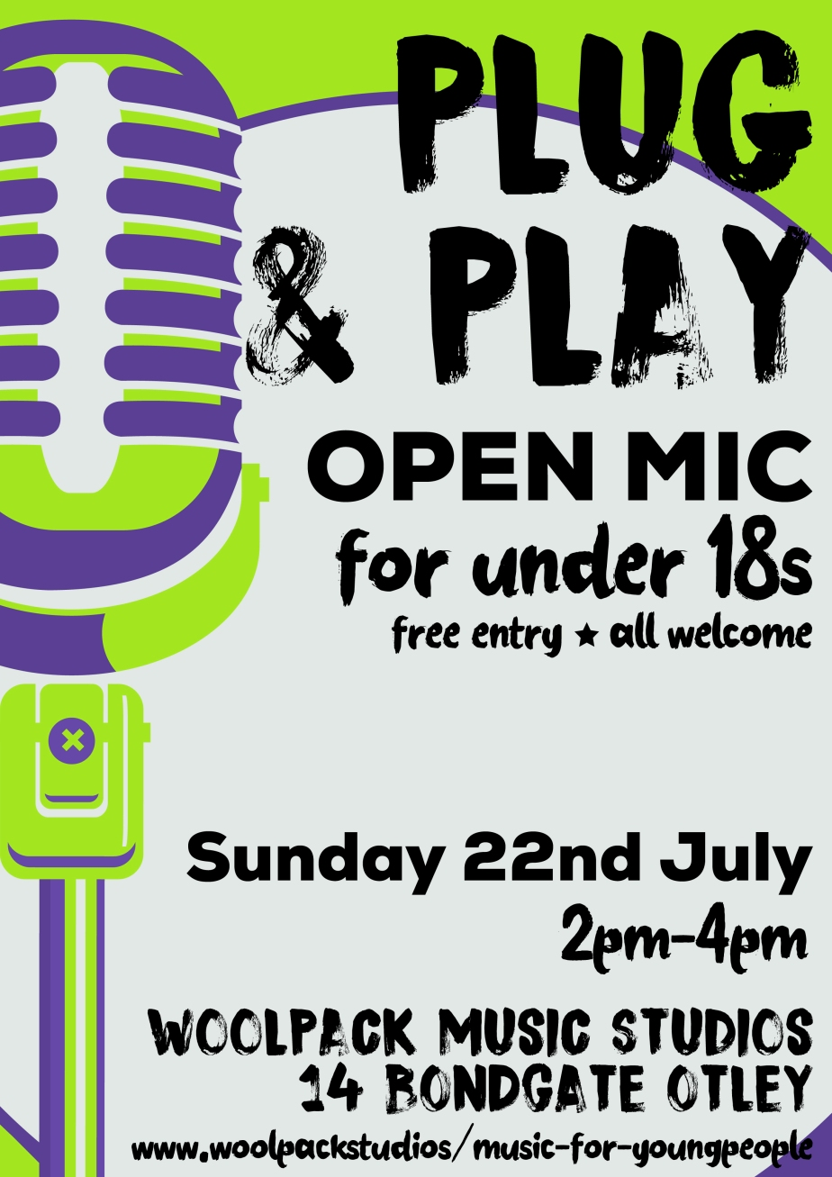 plug and play open mic poster